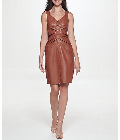 Guess Sleeveless V-Neck Ruched Button Down Vegan Leather Dress