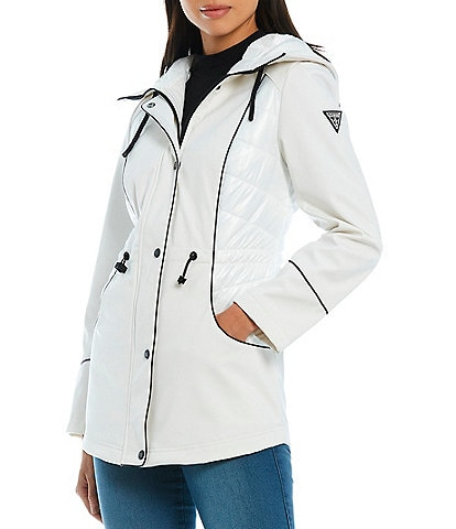 Guess Soft Shell Hooded Long Sleeve Lightweight Single Breasted Anorak Raincoat