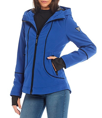 Guess Softshell Stand Collar Hooded Zip Front Anorak Raincoat