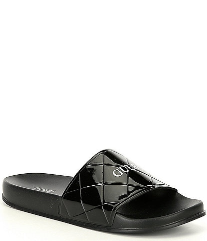 Guess Sorina Quilted Patent Pool Slides
