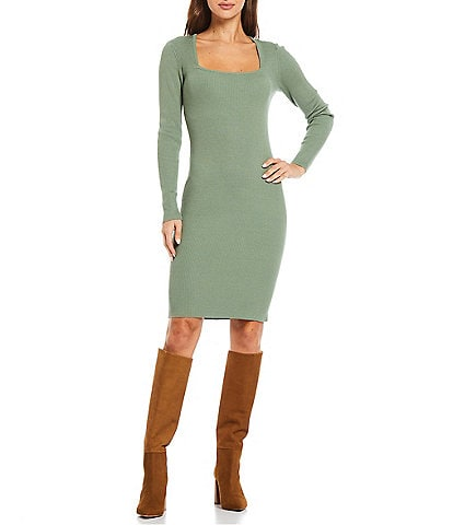 Guess Square Neck Long Sleeve Ribbed Knit Sweater Dress