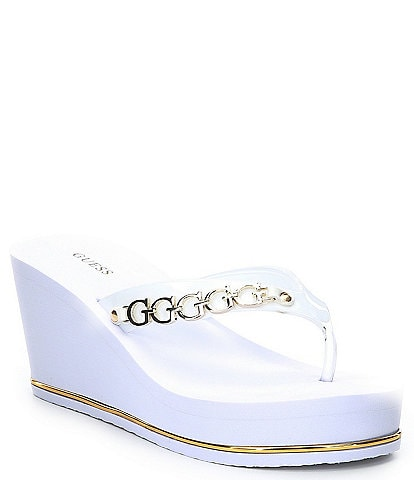 Guess Stassy Logo Hardware Wedge Thong Sandals