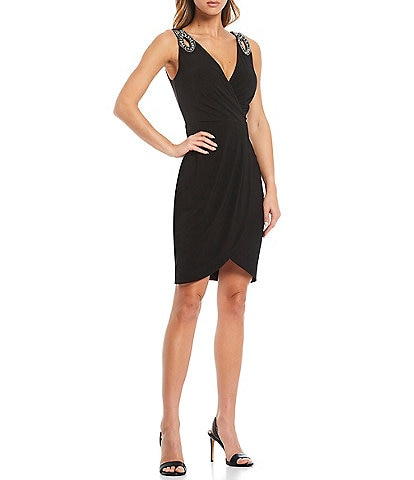 Guess Surplice V-Neck Embellished Strap Coated Knit Faux Wrap Dress