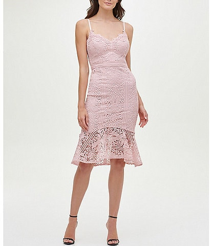 Guess Sweetheart Neck Sleeveless Flounce Hem Lace Dress