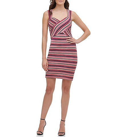 Guess Sweetheart Neck Sleeveless Striped Sheath Dress