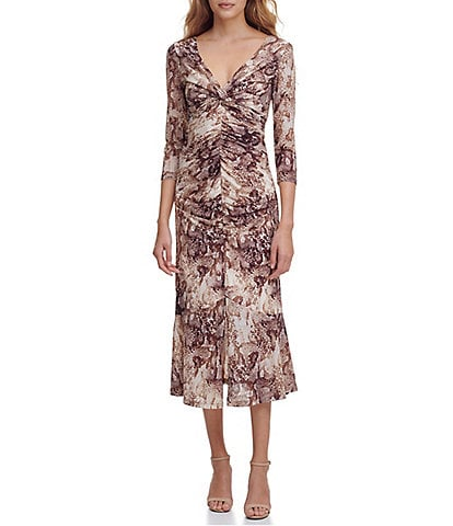 Guess V-Neck 3/4 Sleeve Snake Print Mesh Midi Dress