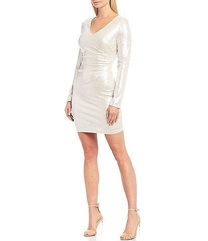 Guess V-Neck Metallic Ruched Bodice Long Sleeve Sheath Dress