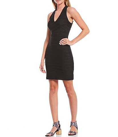 Guess V-Neck Sleeveless Empire Waist Criss-Cross Back Bandage Dress