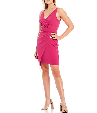 Guess V-Neck Sleeveless Scuba Crepe Faux Wrap Dress