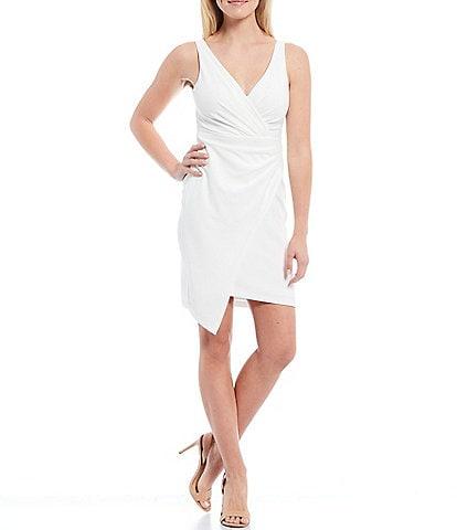 Guess V-Neck Sleeveless Scuba Crepe Faux Wrap Dress