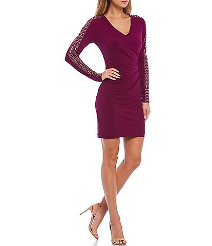 Guess V-Neck Stretch Matte Jersey Embellished Long Sleeve Sheath Dress