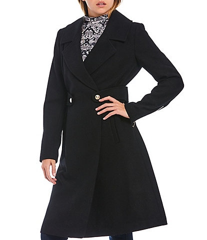 Guess Waist Side Tab Button Waist Notch Lapel Wool Blend Coat