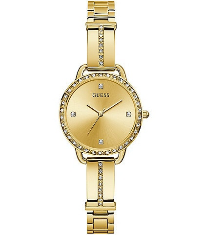 Guess Women's Gold-Tone Crystal Analog Watch