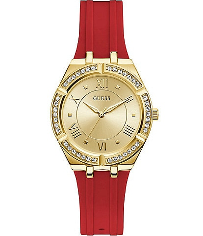 Guess Women's Gold-Tone Glitz Red Silicone Watch