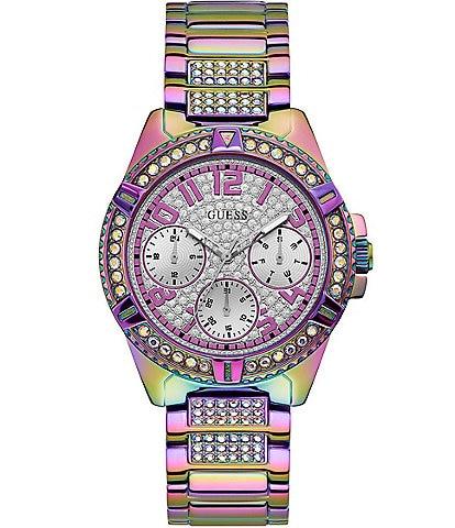 Guess Women's Purple Glitz Stainless Steel Multi-Function Watch