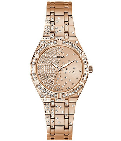 Guess Women's Rose Gold-Tone Glitz Stainless Steel Watch