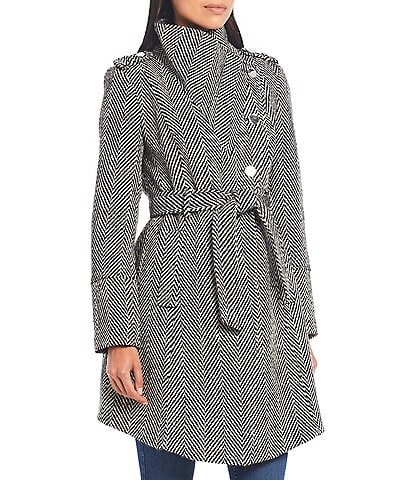 Guess Wool Tweed Asymmetrical Belted Wrap Coat