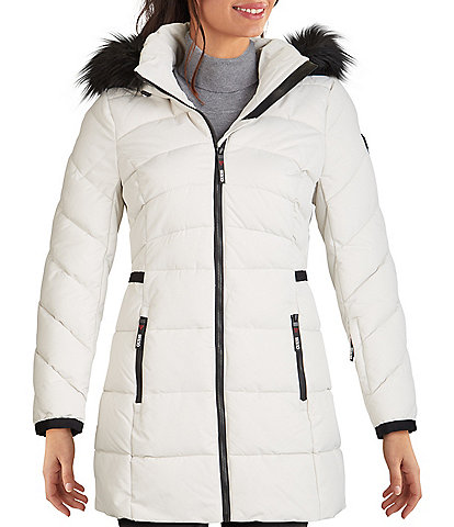 Guess Zip Front Puffer Anorak Down Coat with Removable Faux Fur Trimmed Hood