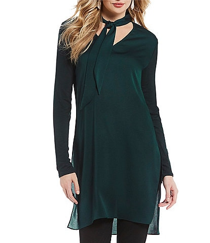 H Halston Long Sleeve Mixed Media Tie Neck Tunic