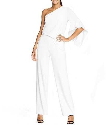 H Halston One Shoulder Crepe Jumpsuit