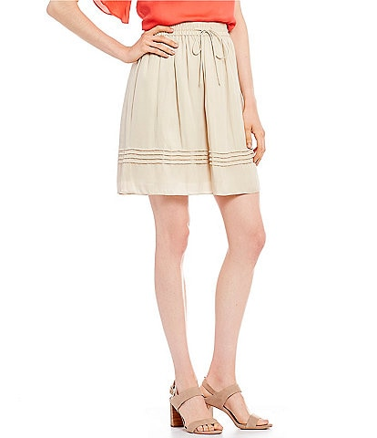 H Halston Pull On Tie Waist Pintuck Skirt