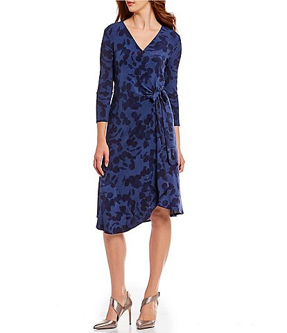 H Halston Wrap Dress With Asymmetric Hem