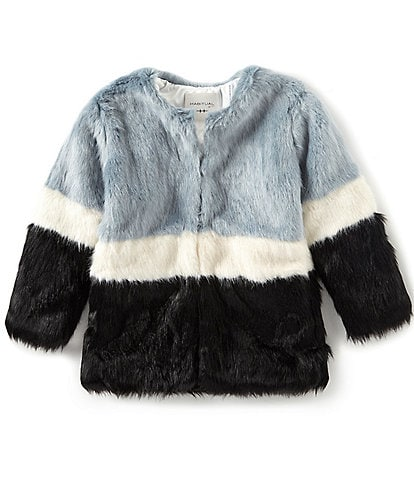 Habitual Big Girls 7-14 Debs Color Block Faux-Fur Acrylic Jacket