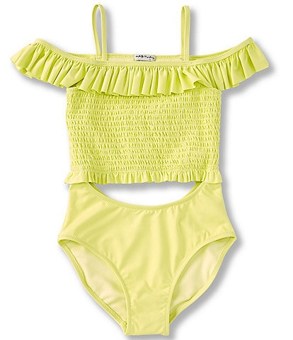 Habitual Big Girls 7-16 Cold-Shoulder Smocked Cutout Monokini Swimsuit