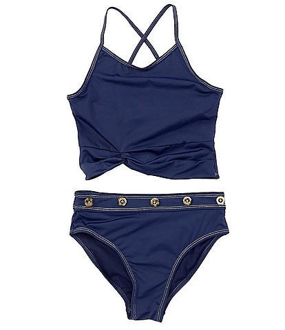 Habitual Big Girls 7-16 Contrast-Stitched Tankini Top & Matching Hipster Two-Piece Swimsuit