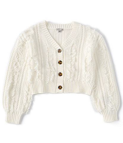 Habitual Big Girls 7-16 Long-Sleeve Button-Front Cable-Knit Crop Cardigan