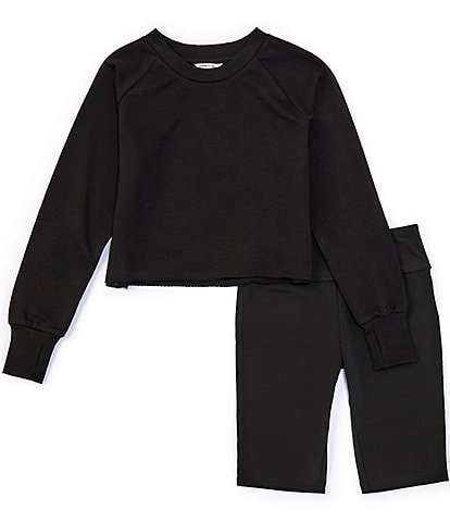 Habitual Big Girls 7-16 Long-Sleeve Sweatshirt & Bike Short Matching Set