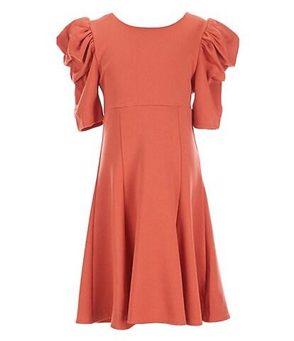 Habitual Big Girls 7-16 Puff Short-Sleeve Flounce Shift Dress