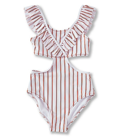 Habitual Big Girls 7-16 Ruffle-Detail Striped Monokini Swimsuit