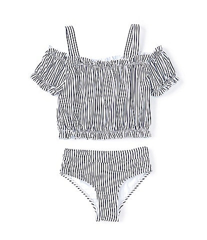 Habitual Big Girls 7-16 Striped Cold-Shoulder Tankini Top & Matching Hipster Two-Piece Swimsuit