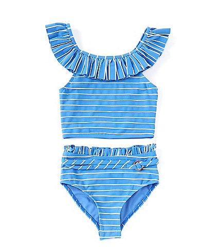 Habitual Big Girls 7-16 Striped Ruffle Tankini Top & Matching Hipster Two-Piece Swimsuit