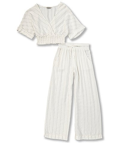 Habitual Big Girls 7-16 V-Neck Lurex-Striped Top & Palazzo Pant Swimsuit Cover-Up