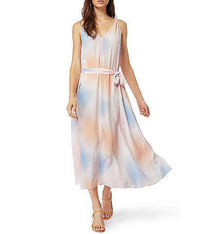 Habitual Daphne V-Neck Midi Ombre Tie-Dye Cloud Print Faux Wrap Dress