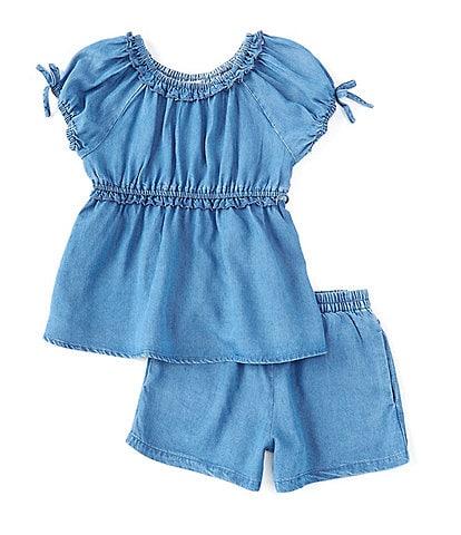 Habitual Little Girls 2T-6X Short-Sleeve Ruched Top & Shorts Matching Set