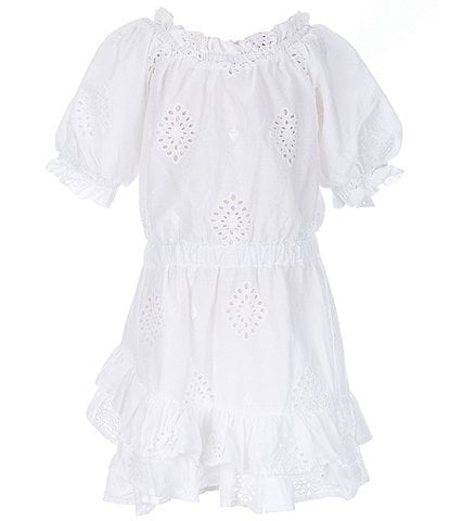 Habitual Little Girls 4-6X Puffed-Sleeve Eyelet Lace Fit-And-Flare Dress
