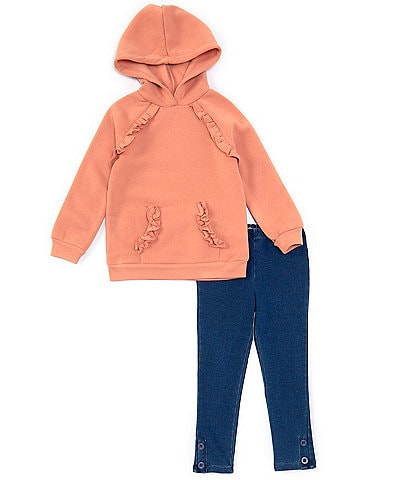 Habitual Little Girls 4-6X Ruffle-Trimmed Hoodie & Leggings Set