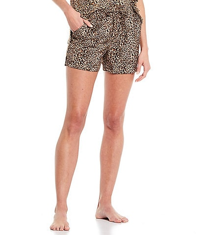 Half Moon by Modern Movement Leopard Print Woven Lounge Shorts