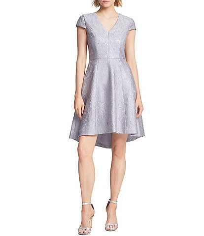 Halston Floral Metallic Jacquard V-Neck Cap Sleeve Hi-Low Dress