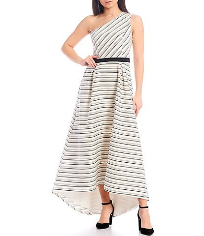 Halston Heritage Asymmetric One Shoulder Sleeveless Striped Hi-Low Gown