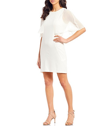 Halston Heritage Cape Sleeve Crepe Sheath Dress