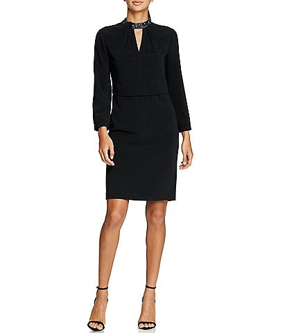 Halston Heritage Embellished Neck Long Sleeve Dress