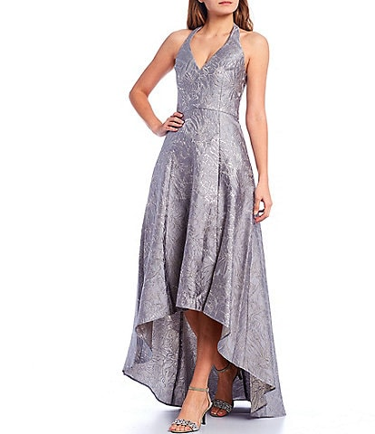 Halston Heritage Floral Metallic Jacquard Halter V-Neck Sleeveless Hi-Low Gown