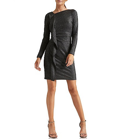Halston Heritage Metallic Knit Ruffle Front Asymmetric Boat Neck Long Sleeve Dress