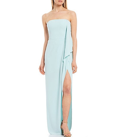 Halston Heritage Strapless Stretch Crepe Side Draped Gown