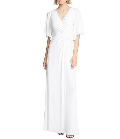 Halston V-Neck Draped Flutter Sleeve Jersey Gown