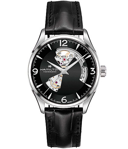 Hamilton Jazzmaster Open Heart Automatic Leather-Strap Watch